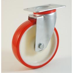 Roulette à platine bandage polyuréthane, corps polyamide CU 100 à 400 Kg