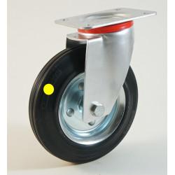 Roulette à platine, roue anti statique, bandage caoutchouc CU 50 à 400 Kg