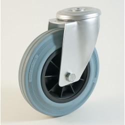 Roulette à trou central, roue à bandage caoutchouc non marquant corps polypropylène CU 50 à 205 Kg