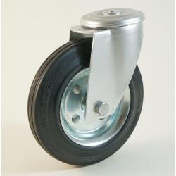 Roulette à trou central, roue à bandage caoutchouc noir corps tôle CU 50 à 205 Kg