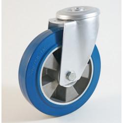 Roulette à trou central, roue à bandage caoutchouc bleu corps aluminium CU 120 à 300 Kg