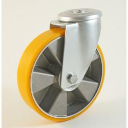 Roulette à trou central, roue à bandage polyuréthane corps aluminium CU 120 à 300 Kg