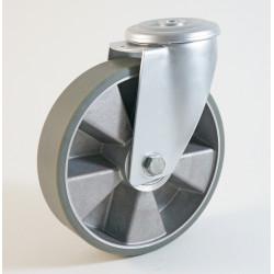 Roulette à trou central, roue anti statique bandage polyuréthane CU 120 à 300 Kg