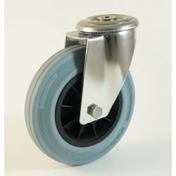 Roulette inox à trou central, roue caoutchouc non marquant, charges 55 à 205 Kg (série DG/INOX20)
