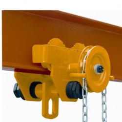 Chariots porte palans manuel à chaîne, charge 5000 Kg, série HGT.