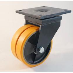 Roulette jumelée à platine, bandage polyuréthane, charges 600 à 7000 Kg (série Z/80)