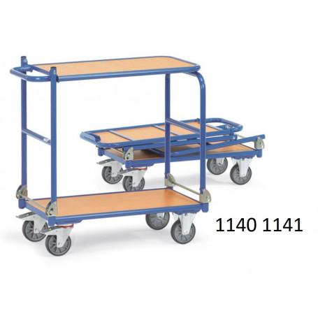 Chariots de manutention à 2 étagères pliables